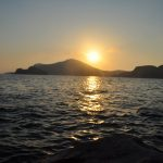 sunset over lemnos island greece - travel nostalgia