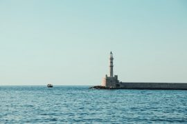 Chania Lighthouse Greece Container Ship Mini adventures