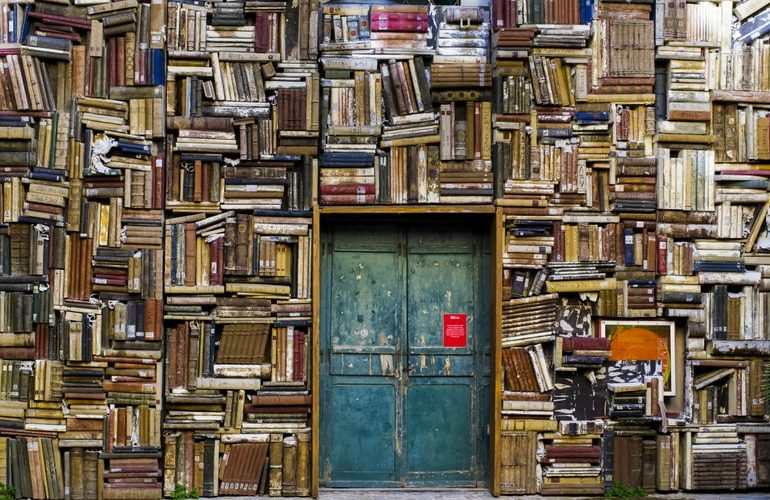 Wall Covered in Books with Small Blue Door in the middle