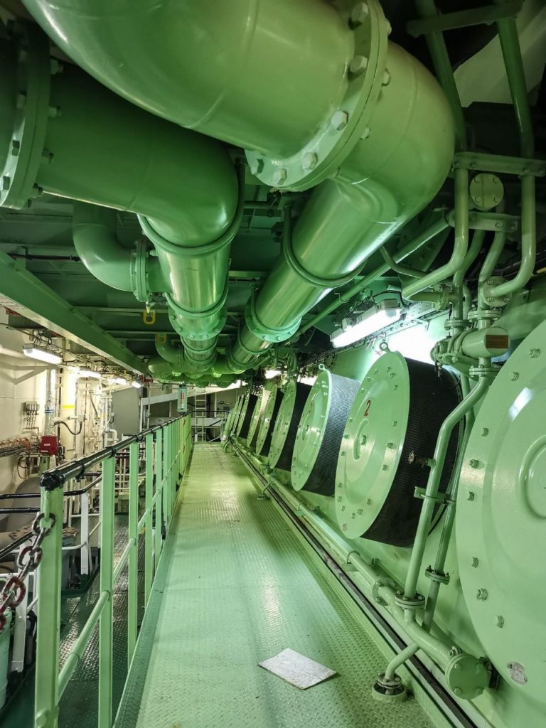 engine room in container ship